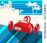 vintage race car  vector...