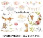 Watercolor Set With Fox  Clouds ...