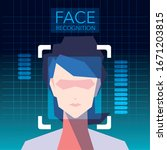 facial recognition technology ... | Shutterstock .eps vector #1671203815