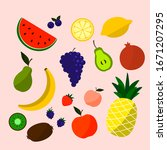 cute bright colors of fruits... | Shutterstock .eps vector #1671207295