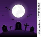 Halloween Night  Graveyard Wit...