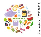 sportive and healthy lifestyle... | Shutterstock .eps vector #1671278722