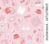 girls accessories pink seamless ...   Shutterstock .eps vector #1671278815