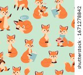 cute fox seamless pattern with... | Shutterstock .eps vector #1671278842