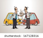 two drivers arguing after car...   Shutterstock .eps vector #167128316