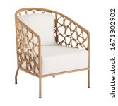 Small photo of Wicker Accent Chair Isolated on White Background. Patio Armchair & Outdoor Furniture. Rattan Loungers. Pool Recliners. Garden Reclining Chairs. Beach Long Chair with Arm Handles and Soft Cushions