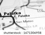 East Palatka. Florida. USA on a map