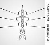 electricity pylon vector icon....   Shutterstock .eps vector #1671323992
