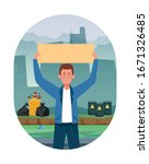 activist man protesting with...   Shutterstock .eps vector #1671326485