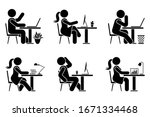 sitting at desk office stick... | Shutterstock .eps vector #1671334468