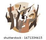 a group of people  activists...   Shutterstock .eps vector #1671334615
