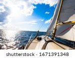 Sloop Rigged Yacht Sailing On ...