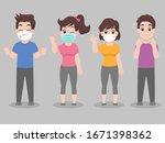 set of people  wearing face... | Shutterstock .eps vector #1671398362