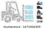 line mosaic based on forklift... | Shutterstock .eps vector #1671406345