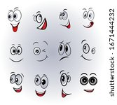 cartoon faces expressions... | Shutterstock .eps vector #1671444232