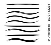 black brush stroke vector set | Shutterstock .eps vector #1671453295