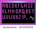 pixel alphabet letters and...   Shutterstock .eps vector #1671455635