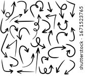 set of hand drawn vector arrows ... | Shutterstock .eps vector #1671523765