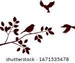 flock of birds and tree branch | Shutterstock .eps vector #1671535678