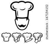 chef hat icons set | Shutterstock .eps vector #167154152