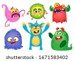 funny cartoon monsters.... | Shutterstock . vector #1671583402