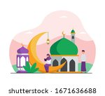 muslim activity in ramadan... | Shutterstock .eps vector #1671636688