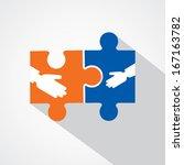 businessman handshake with... | Shutterstock .eps vector #167163782
