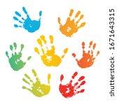 hand rainbow print isolated on...   Shutterstock . vector #1671643315