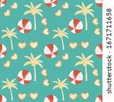 seamless summer tropical... | Shutterstock . vector #1671711658