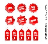 red sale tags | Shutterstock .eps vector #167172998