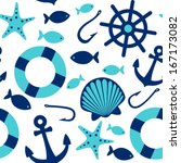 Sea Icons Seamless Pattern On...