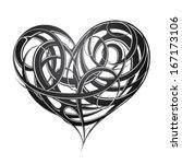 decorative heart tattoo | Shutterstock .eps vector #167173106