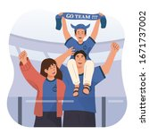 happy family watching football... | Shutterstock .eps vector #1671737002