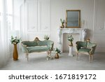 Vintage Green Armchairs In The...