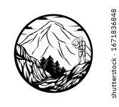 mountain explore man vector... | Shutterstock .eps vector #1671836848
