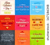 happy valentines day cards set... | Shutterstock .eps vector #167186348
