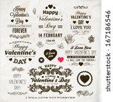 set of happy valentine's day... | Shutterstock .eps vector #167186546