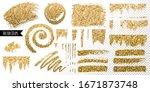 golden glitter brush stroke.... | Shutterstock .eps vector #1671873748