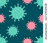 coronavirus seamless pattern on ... | Shutterstock .eps vector #1671903928