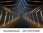 gold star arcs road with light... | Shutterstock .eps vector #1671921568
