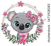 cute cartoon panda girl with a... | Shutterstock .eps vector #1671928282