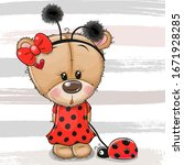 cartoon cute teddy bear girl in ... | Shutterstock .eps vector #1671928285