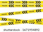 vector set of restriction tapes ... | Shutterstock .eps vector #1671954892