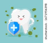 cute tooth characters in flat... | Shutterstock .eps vector #1671956398