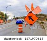 Large Orange Sign With Diagonal ...
