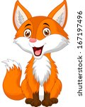Cute fox cartoon - stock vector