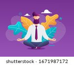 businessman meditation in... | Shutterstock .eps vector #1671987172