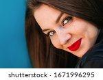 Closeup Of Girl Face With...