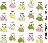 colorful elephants with a...   Shutterstock .eps vector #1672052542