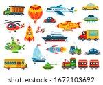 big toy transport set. vector... | Shutterstock .eps vector #1672103692